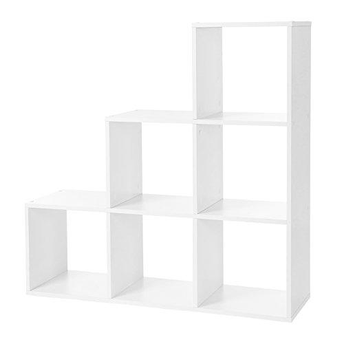 VASAGLE LBC63WT  Libreria Scale 6 Scomparti a cubo mensola per Esposizione in Legno scaffale Indipendente 975 x 975 x 29 cm Colore Bianco