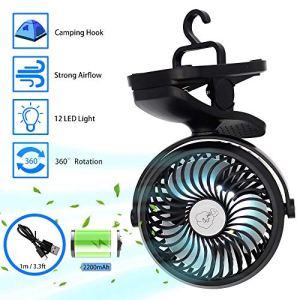 Ventilatore Portatile da Campeggio Ventilatore USB Ventilatore da Tavolo con Luce LED 2200mAh 3 velocit Rotazione 360  Mini Ventilatore Personale per Casa Esterno Ufficio Campeggio