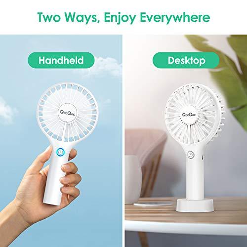 Ventilatore Portatile USB QacQoc Ventilatore USB con Batteria Ricaricabile 2000mAh Ventilatore Silenzioso con 3 Velocit Regolabili Adatto per Ufficio e Viaggi
