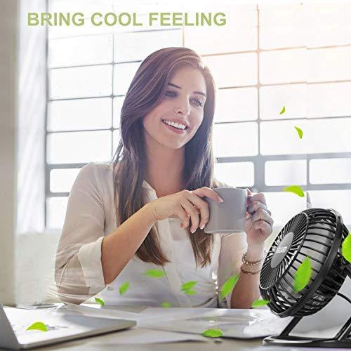 VGUARD Mini Ventilatore USB 4 Pollici Portatile 360 Girevole Ventilatore da Tavolo Silenzioso Mini Fan Compatibile con Notebook Computer PC Desk per la Casa Ufficio Campeggio e Altro  Nero