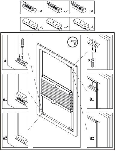 WOLTU VH5531gr Tenda Plissettata Oscurante Tende Avvolgibili per Finestra Porte Klemmfix Senza Fori Protezione la Privacy Poliestere Grigio 55x130 cm
