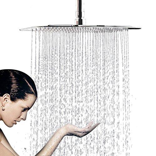 WYJP  Soffione doccia a pioggia con ugelli anticalcare in acciaio INOX lucidato effetto specchio lucido Duschkopf Regendusche