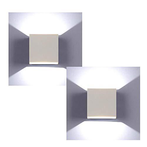 XIAJIA2 Pezzi 6W LED Applique da parete Lampada da Parete Luce bianca fredda 6000k Moderno in Alluminio per Soggiorno Camera da Letto Corridoio Scale