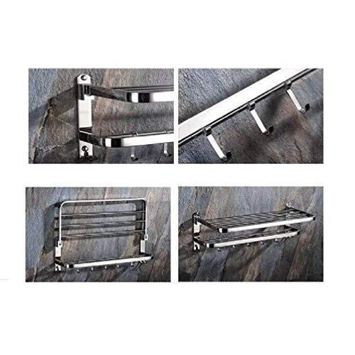 XIAJIAMensola da parete portasciugamani in acciaio inox lucido  Scaffale porta asciugamani con barre stile hotel60  24  195 Cm