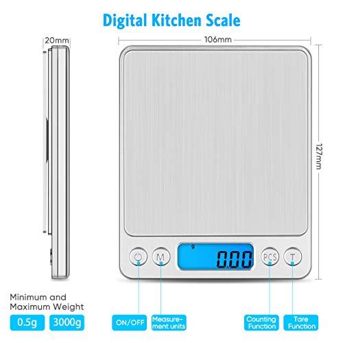 XINYU Portatile Bilancia CucinaIntelligente Bilance per GioielliArgentocon Display LCD e 6 Unit Funzione Tara per Cucinare Caff Bilancia Digitale di Precisione3000g x 01g