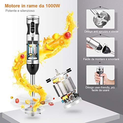 Yissvic Frullatore Immersione 1000W 9 Velocit Minipimer Mixer Immersione 4 in 1 Acciao Inossidabile 304 con Turbo Presa Antiscivolo