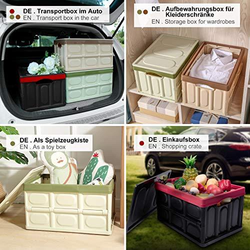 Yorbay Set di 2 Scatole di Immagazzinaggio Pieghevole Contenitori Plastica con Coperchio Scatola Trasloco per Auto Armadio Camere da Letto Giocattoli Riutilizzabile Verde 28L