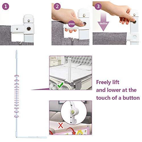 ZAHNHASE Barriera Letto Bambini Viaggio Guardrail sicurezzaprotezione removibile per letto bambino  180cmGrigio1pc