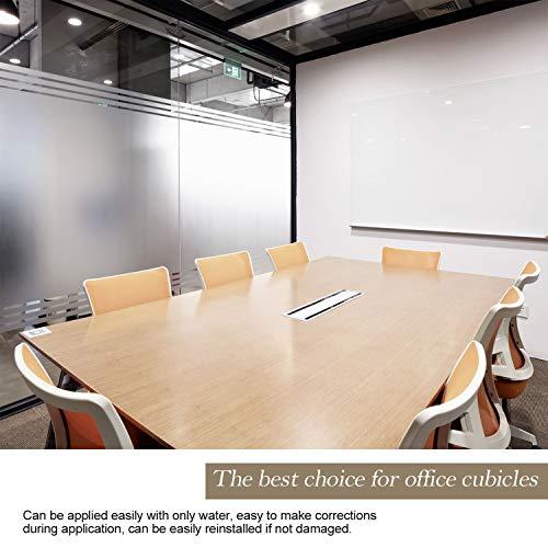 Zindoo Pellicola Privacy Non Adesiva per Vetro Decorative AntiUV Frosted Pellicola per finestreper Ufficio Bagno Camera da Letto Sala di Riunione 45cm x 200cm