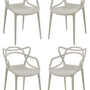 Totò Piccinni Sedie Infinity, Moderne Design impilabile(L)54x(P)55x(A)82 cm (Grigio Chiaro, 4)