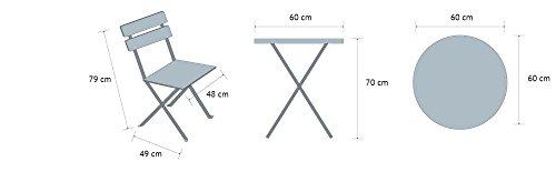 Vanage Set da Balcone con Tavolino da Caffè Pieghevole e Sedie Pieghevoli in Acciaio, Arredamento per Giardino o Terrazza, Salotto Esterno in Grigio
