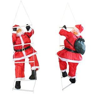 Babbo Natale sulla scala 180cm Decorazione natalizia Personaggio natalizio Santa Claus