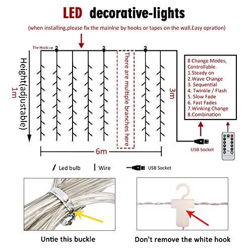 BLOOMWIN Tenda Luminosa 8 modalit 6V a Bassa Tensione 6M  1M 300 LEDs USB Luci Stringa Funzione Timer con Telecomando con Ganci per Natale Finestra Anniversario Casa Giardino Bainco Caldo