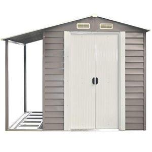 Casetta box da giardino con tettoia laterale 152x298x203 cm grigio