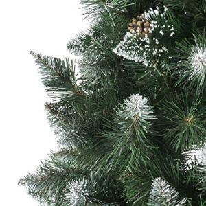 FairyTrees Albero di Natale Artificiale Pino innevato Bianco Naturale Materiale PVC Vere pigne incl Supporto in Legno 250cm