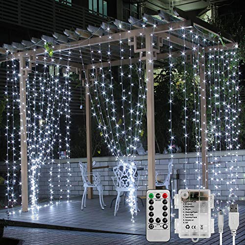 LE Luce Tenda Luminosa per Finestra 3x3m 300 LED Bianco