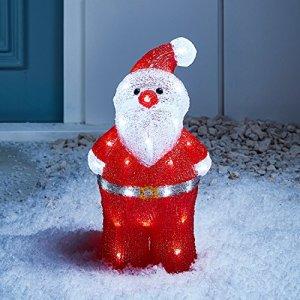 Lights4fun  Decorazione Natalizia Luminosa a Babbo Natale con LED Bianchi per Interni ed Esterni