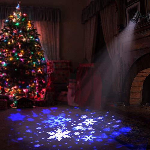 Proiettore Luci LED Natale Fiocco di Neve Proiettore Lampada Effetto Neve IP44 EsternoInterno Bassa Tensione e Telecomando per Decorazioni da giardino e Halloween Natale Festa Blu e Bianco