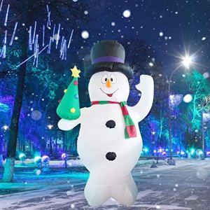 Pupazzo di neve gonfiabile di Natale di 24M con lalbero decorazione domestica di Natale luce LED ad alta luminosit di tensione sicura 12V decorazione gonfiabile del giardino del cortile