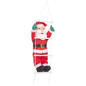 The Christmas Workshop 87730  Decorazione da Appendere a Forma di Babbo Natale Che Si arrampica su Una Scala 60 cm Colore RossoBianco