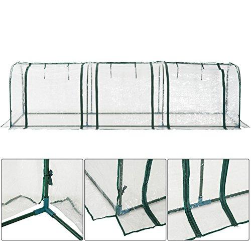 Outsunny Serra da Giardino per Piante con 3 Porte in Acciaio e PVC 300×100×80cm