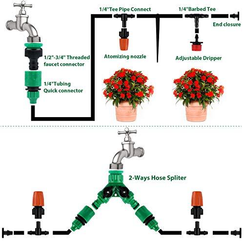 Emooqi 30m Sistema di Irrigazione da Giardino,149 Pezzi Kit di Irrigazione DIY Micro Serra Automatica Sprinkler Gocce Irrigazione Kit, Giardino Irrigazione, Flower Bed,Terrazza Piante