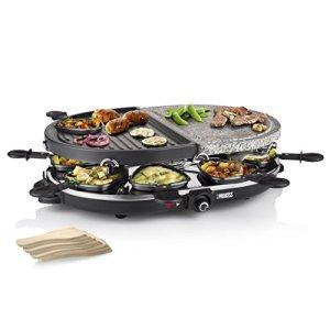 Princess 162710 Raclette 8 Oval Stone  Grill Party Grill 1200 W Plastica Nero