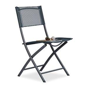 Relaxdays 10020943 Sedia Pieghevole da Balcone Metallo Plastica Seduta da Giardino HxLxP 87 x 55 x 485 cm Grigio Antracite