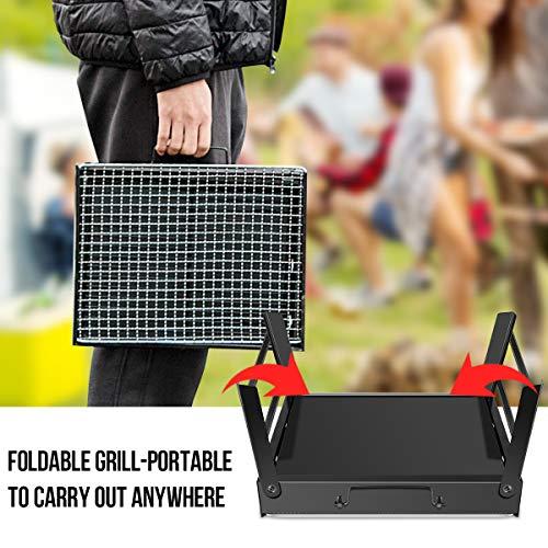 WOSTOO Barbecue Griglia a Carbone Barbecue Portatile a Carbone Utensile BBQ Grill Barbecue Carbone Pieghevole per Picnic in Balcone e GiardinoPicnic allapertoCampeggio ECCNero