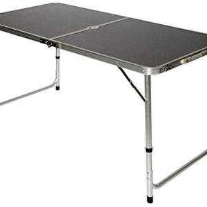 AMANKA Tavolino da PICnic 120x60x70cm Tavolo da Campeggio in Alluminio Altezza Regolabile Pieghevole Formato Valigia Grigio Scuro