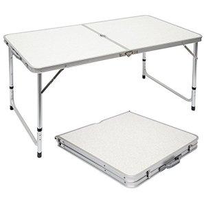 AMANKA Tavolino da PICnic 120x60x70cm Tavolo da Campeggio in Alluminio Altezza Regolabile Pieghevole Formato Valigia Grigio Chiaro
