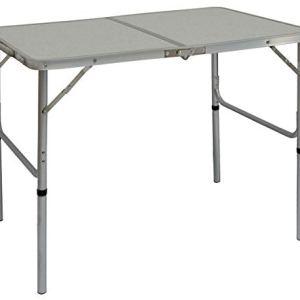 AMANKA Tavolino da PICnic 90x60x70cm Tavolo da Campeggio in Alluminio Altezza Regolabile Pieghevole Formato Valigia Grigio Chiaro