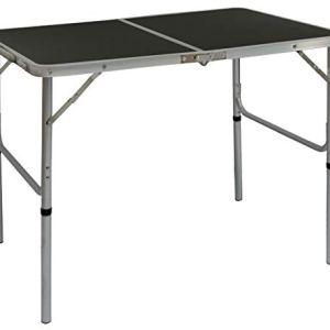 AMANKA Tavolino da PICnic 90x60x70cm Tavolo da Campeggio in Alluminio Altezza Regolabile Pieghevole Formato Valigia Grigio Scuro