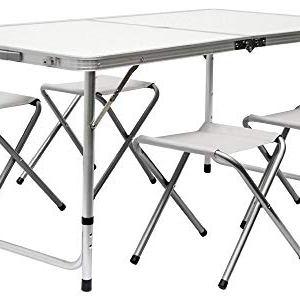 AMANKA Tavolino da PICnic incl 4 Sgabelli Tavolo da Campeggio 120x60x70cm Altezza Regolabile Pieghevole Formato Valigia Grigio Chiaro