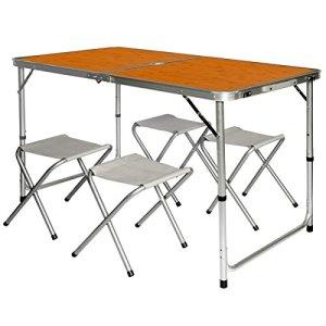 AMANKA Tavolino da PICnic incl 4 Sgabelli Tavolo da Campeggio 120x60x70cm Altezza Regolabile Pieghevole Formato Valigia bamb