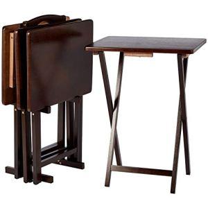 AmazonBasics set da 4 tavolini alti pieghevoli per snackcena stile classico con rastrelliera  Espresso
