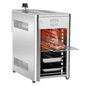 BARBECU Barbecue a Gas in Acciaio Inox ad Alta Potenza da 200 a 800 C su 10 Livelli di Cottura per Carne Pesce Frutta di Mare Verdura