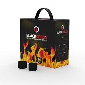 BLACKCOCO  4 KG Carbone Naturale di Prima Qualit per Narghil e BBQ  Carbonella al Cocco di alta qualit per Narghil  Barbecue  Cubo di Carbone per Narghil e BBQ con Lunghi Tempi di Combustione