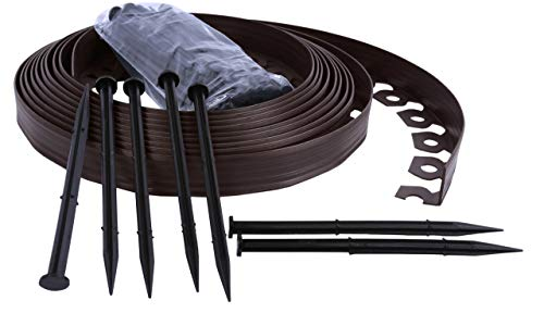 Bordo Flessibile da Giardino Bordo Flessibile per Il Giardino Bordo da Giardino in plastica 4cm di Altezza  Marrone 10 Metri  30 Chiodi di Fissaggio