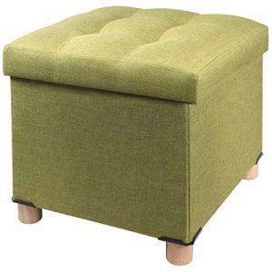 BRIAN  DANY Pouf Cubo Poggiapiedi Sgabello Contenitore Cassapanca Pieghevole 38 x 38 x 40 cm Verde