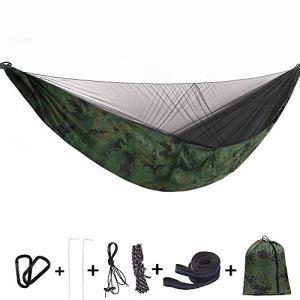 Bwiv Amaca da Campeggio Con Zanzariera Portatile Ultraleggero Amaca Outdoor Paracadute Nylon 290x140cm Portata massima 200 kg Per Escursionismo Backpacking Viaggi Verde 4 290x140cm