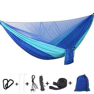 Bwiv Amaca da Campeggio Con Zanzariera Portatile Ultraleggero Amaca Outdoor Paracadute Nylon 290x140cm Portata massima 200 kg Per Escursionismo Backpacking Viaggi Blu