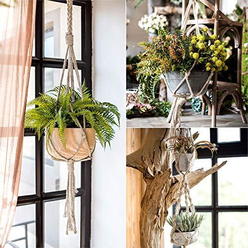 Czemo Piante Sospese Portafiori Macrame Plant Hanger Fioriere da Balcone da Appendere Plant Titolari Robusto Gancio per Piante Tessitura a Mano per Balcone Decorazioni da Giardino 4 Pezzi