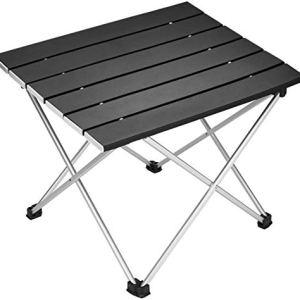 Debuy tavolo pieghevole portatile in alluminio con custodia per campeggio picnic barbecue Nero