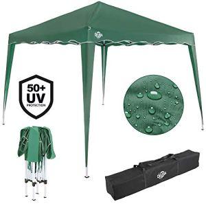 Deuba Gazebo da Giardino 3x3m Capri Impermeabile Pop up Richiudibile A Fisarmonica Protezione UV50 Verde Scuro