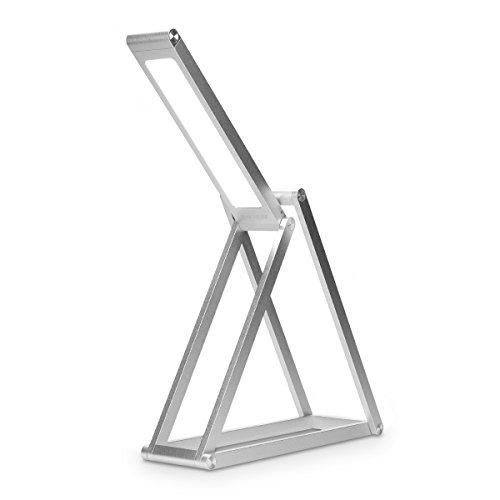 kwmobile Lampada da tavolo LED in alluminio  Luce da lettura eye friendly  Lampada da scrivania pieghevole con cavo USB design minimal  argento