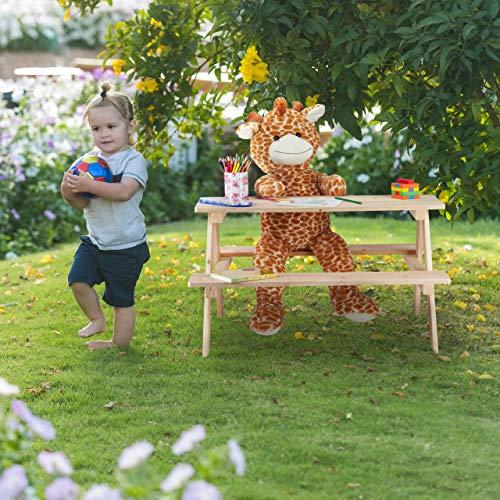 Relaxdays PIC Nic Bambini Tavolino con Panca per Il Giardino Esterno HxLxP 50 x 90 x 78 cm Legno Naturale