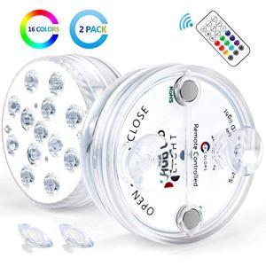 Ventvinal Luci per Piscina luci LED RGB a variazione cromatica per giardinoacquariovasovascamatrimoniofesta illuminazione subacquea decorativa con telecomando2 pezzi
