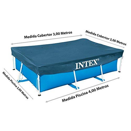 Intex 28038 Copripiscina Frame Rettangolare Cm 300X200 Art Pulizia E Manutenzione 161 PVC Multicolore 300 x 200 x 75 cm