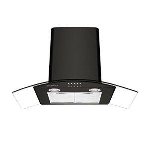 CIARRA Cappa Aspirante 90 cm con Vetro e Acciaio Inox Potenza di Aspirazione pari a 550 mh 3 Livelli di Potenza Design Accattivante  NeroClasse Efficienza Energetica C
